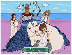 Tauro, Signos del Zodiaco, dibujo, ilustración