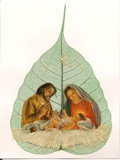 No two leaves or leaf art are exactly alike   by museumshop, $7.99  NATIVITY COLLECTIBLE leaf art