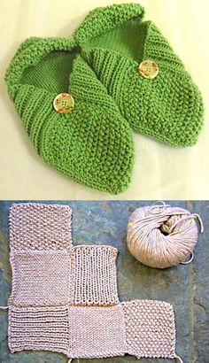 Free Knitting Pattern for Easy Patchwork Slippers - Just knit 6 squares (stockinette, rib, and moss stitch) and seam to make these easy sampler slippers. Designed by Andrea James