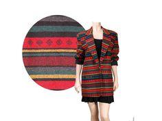 Medium Red Navajo Aztec Print 90's Blazer by by IntertwinedVintage