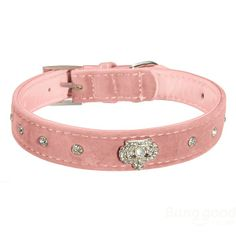 Velour Leather Diamond Crown Bling Buckle Pet Dog Collar