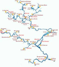 A map of the Norfolk Broads, why not get planning your route from Wroxham Norfolk Broads, Norfolk England, Boating Holidays, Sailing Holidays, Canal Holidays, Great Britain United Kingdom, Map Of Britain, Family Tree Chart