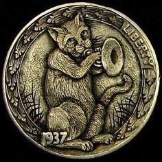 HOWARD THOMAS HOBO NICKEL - BOOGIE WOOGIE BUGLE CAT - 1937 BUFFALO NICKEL