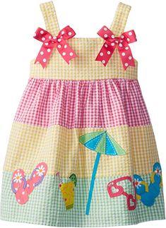 Amazon.com: Good Lad Baby Girls' Seersucker Beach Applique Sundress, Yellow, 12 Months: Clothing Little Girl Outfits, Little Dresses, Little Girl Dresses, Little Girls, Kids Outfits, Baby Girls, Sewing Kids Clothes, Baby Sewing, Doll Clothes