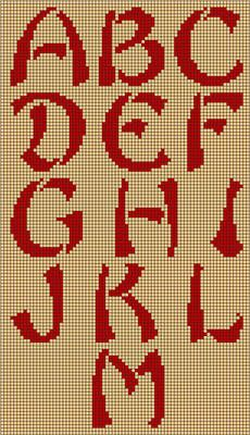 This needlepoint alphabet pattern was inspired by the traditional brushwork painting of China and Japan. The alphabet is uppercase, which makes it perfect for use as a monogram. Stitch the monogram in the matching needlepoint frame. Alphabet Au Crochet, Embroidery Alphabet, Embroidery Fonts, Cross Stitch Letters, Beaded Cross Stitch, Cross Stitch Embroidery, Free Cross Stitch Charts, Counted Cross Stitch Patterns, Needlepoint Patterns
