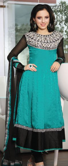 This one is also nice. Blue Teal Color Faux Georgette Churidar Kameez OOLV1016A