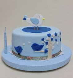 Blue Birds Cake by Violeta Glace