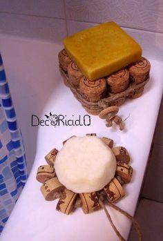 decoriciclo: porta-sapone di tappi di sughero