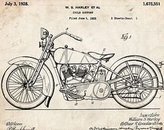 Harley Davidson Motor cycle 1928 US Patent by StevesPosterStore