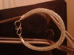 Viking knit silver plated copper bracelet by Vikingreenactment
