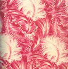 Rococo influenced wall covering of scarlet feathers. This style could be combined with modern or vintage.