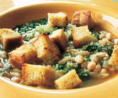 √ Escarole & White Bean Soup with Rustic Croutons Recipe- YES! def make again....flavorful, quick & easy! ADJUSTMENTS: used 2 cans of beans / used 2 small heads of escarole (could def use more - maybe mixture w kale) / 3 oz pancetta - great croutons!