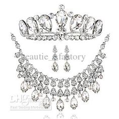 Wholesale bridal wedding jewelry Accessories Tiaras amp; Hair set of the bride crown earrings necklace T011, Free shipping, $35.84-38.98/Piece | DHgate