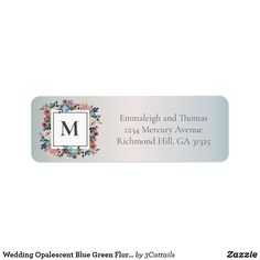 Shop Wedding Opalescent Blue Green Floral Address Label created by Personalize it with photos & text or purchase as is!