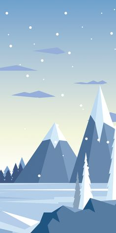 Snowy wallpaper illustrations for iPhone