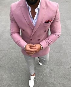 Summer Pink Men Suits for Wedding Groom Tuxedos Peaked Lapel Man Prom Blazer Casual Terno Masculino Slim Fit Costume Homme Coat Pants Men Suits Slim F. Blazer Outfits Men, Casual Blazer, Pink Blazer Men, Casual Outfits, Casual Suit, Pink Outfits, Prom Blazers, Blazers For Men, Mens Fashion Suits