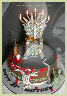 Game of Thrones cake with 3D printed topper Mason Andrea
