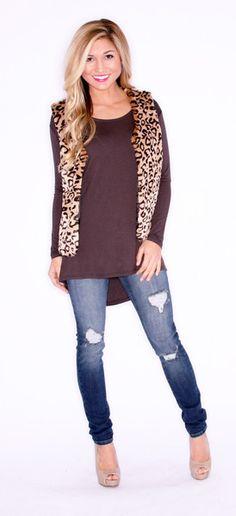 Faux fur leopard vest, skinny jeans and stilettos. #shopinpressions