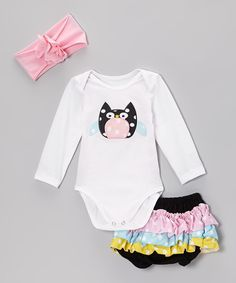 Take a look at this White & Pink Polka Dot Owl Bodysuit Set - Infant on zulily today!