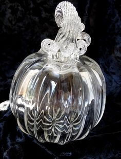 Hand Blown Clear Glass Pumpkin Halloween by ajjewelrydesigns