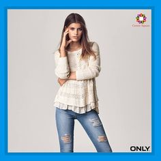 Play with contrasts: ripped denim and a soft, feminine knit. #Only #CentreSquare