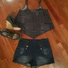 Tinseltown High Waisted Shorts& Crop Top BOGO Cute denim shorts new.. with free crop top shown and free BOGO of equal or lesser value👚👡 Tinseltown Shorts Jean Shorts