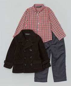 Look what I found on #zulily! Black Peacoat Set - Infant & Toddler by OK Kids #zulilyfinds