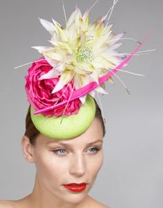 Rainbow Bright Headgear: The Philip Treacy 2010 Occasion Collection is Colorfully Dramatic Philip Treacy Hats, Cocktail Hat, Fancy Hats, Head Accessories, Love Hat, Derby Hats, Mellow Yellow, Handmade Flowers, Headgear