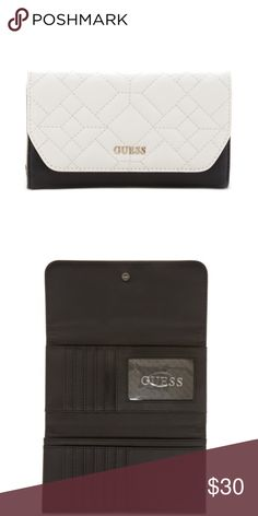 Guess Womens Ines Slim Quilted Black/White TriFold Guess Women's Ines Slim Quilted Clutch Tri-Fold Wallet  Product Description:    Quilted Faux-Leather Exterior Polished Metal Hardware Front Logo Emblem Fold Over Flap With Snap Closure 12 Credit Card Slots 1 ID Window 3 Bill Slip Pockets Back Exterior Zipper Pocket Dimension: 3.75 H x 7 W Inch Model Name: Ines, Guess Bags Clutches & Wristlets