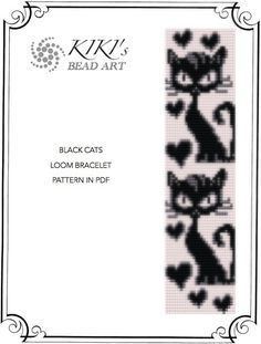 Black cats LOOM bracelet pattern in PDF - instant download