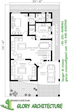 40x60 House Plans, House Layout Plans, My House Plans, Family House Plans, House Layouts, House Floor Plans, House Front Design, Modern House Design, 5 Marla House Plan