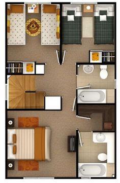 Hasil gambar untuk planos de casa en terreno 6 x 16 3d House Plans, Model House Plan, House Blueprints, Small House Plans, 3d Home, Apartment Plans, Sims House, Small House Design, House Layouts
