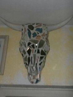 Mirrored cow skull sculpture by Donzine. Cow Skull, Skull Art, Western Decor, Mosaic Art, Skulls, Decor Ideas, Sculpture, Mirror, House