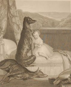 Faithful Gelert, antique print, Victorian, an engraving from circa 1880 after the original painting by Daniel Maclise the Cork born painter. Antique Prints, Cork, Original Paintings, Victorian, Faith, Antiques, Gallery, Antiquities, Antique