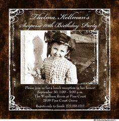 Please join us to celebrate at her Surprise 80th Birthday Party! Themed photo 80th birthday invitation design on favorite vintage photo of the birthday gal.