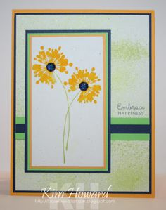 Card details: Stamps:  Bursting Blooms from AMuse stamps, Mega Mixed Messages from PaperTrey Ink Cardstock: Summer Sun, Night of Navy, Green Galore, Whisper White Inks: IMAGINE Crafts® Fireworks!™ Craft Spray in New Sprout and Bamboo Leaves, Golden Tiara and Green Galore Embellishments: Bo Bunny jewels