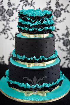 Party Cake - High Fashion Wedding Cake ~ black, teal. Austria
