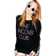 Wildfox Couture Hangover Club Baggy Beach Jumper ($98) ❤ liked on Polyvore featuring tops, sweaters, baggy beach jumper, black evening sweater, beach sweater, wildfox sweater and print sweater