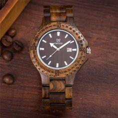 Men's Zebrawood Analog Japanese Miyota Quartz Wood Watch