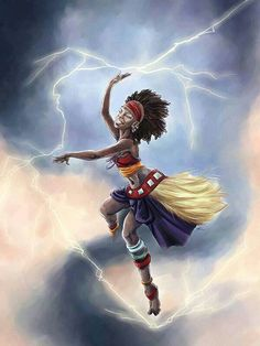 Yoruba mythology - Oya, She is believed to be able to manifest as winds, ranging from a gentle breeze to a raging hurricane or cyclone. She's known as a fierce warrior goddess and a protector of women as the Orisha of rebirth and new life, and she is believed to bring about change.