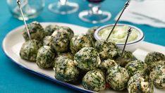 Spanikopita Chicken Meatballs with Spicy Cucumber and Yogurt Sauce Recipe : Rachael Ray : Food Network
