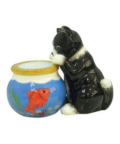 Take a look at this Cat & Fishbowl Salt & Pepper Shakers by Westland Giftware on #zulily today! $9 !!