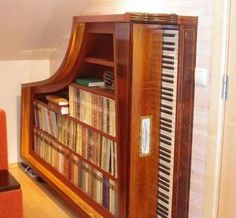 weird piano | The Weird But Cool Piano Bookshelf | Decorative Soul