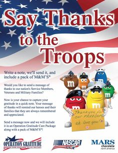 Join M&Ms Racing, NASCAR and Operation Gratitude as we thank the troops! #NASCARsalutes #KyleBusch #NASCAR #MARSchocolate #SupportourTroops