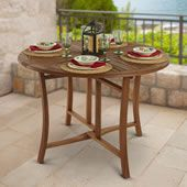 The Brazilian Eucalyptus Foldaway Table - Hammacher Schlemmer Round Table And Chairs, Outdoor Tables And Chairs, Wooden Tables, Outdoor Living Furniture, Outdoor Furniture Covers, Portable Canopy, Outdoor Folding Table, Furniture Care, Furniture Design