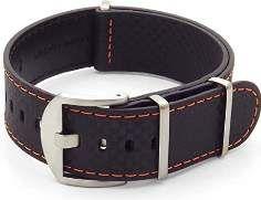 SALE 40% (29.99$) DASSARI Stealth Carbon Fiber NATO G10 Zulu Black w/ Orange Stitching Leather...