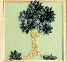 Cuadro de árbol con semillas