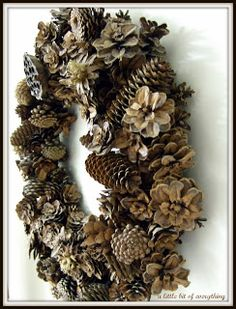 DIY Pine Cone Wreath- soaking in water to close the cones, then when they warm up they open which secures them to the wire! Christmas Wreaths, Christmas Crafts, Christmas Decorations, Christmas Ornaments, Holiday Decor, Xmas, Pinecone Crafts Kids, Pine Cone Crafts, Pinecone Decor