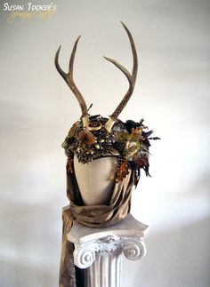 Antler Headdress Celtic Ritual Crown Fairy Costume Offbeat Wedding Pagan Bridal Deer Skull DIANA THE HUNTRESS by Spinning Castle. 825.00, via Etsy.