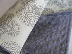Amy Butler Grey  Minky Baby Blanket in by ButterBrickleBaby, $29.00